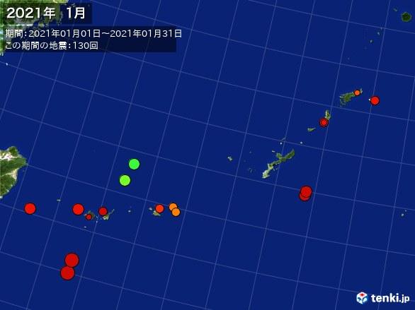 沖縄・震央分布図(2021年01月)