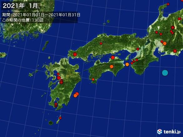 西日本・震央分布図(2021年01月)