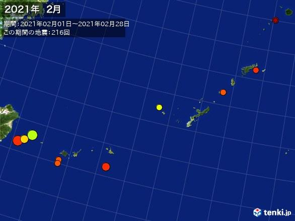 沖縄・震央分布図(2021年02月)