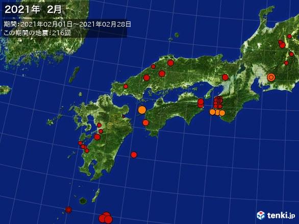 西日本・震央分布図(2021年02月)