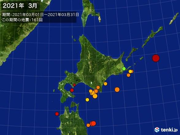 北日本・震央分布図(2021年03月)