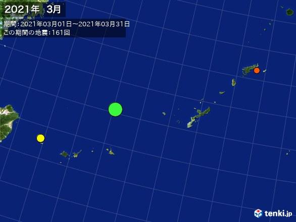 沖縄・震央分布図(2021年03月)
