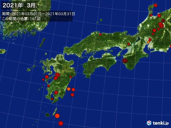西日本・震央分布図(2021年03月)