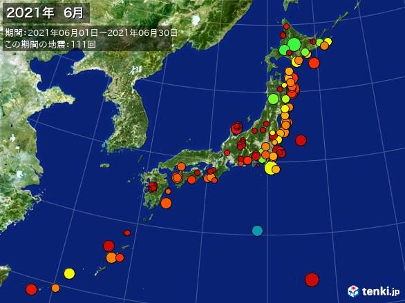 日本全体・震央分布図(2021年06月)