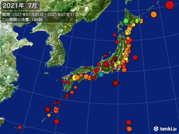 日本全体・震央分布図(2021年07月)