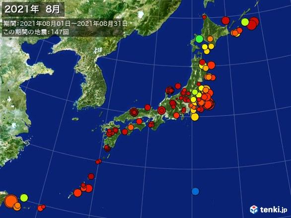 日本全体・震央分布図(2021年08月)