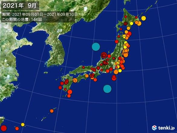日本全体・震央分布図(2021年09月)